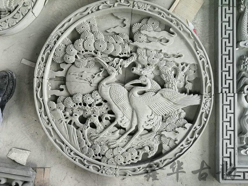 鑫华古韵砖雕--砖雕壁画-松鹤延年